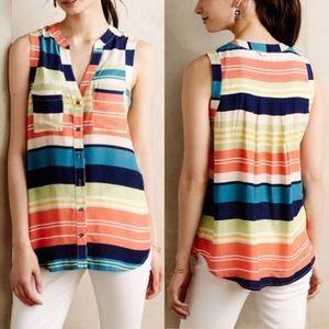 Anthro Striped Sunseeker Tank Top - Maeve